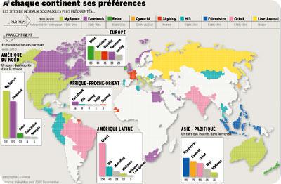 mapa de las redes sociales usadas en el mundo