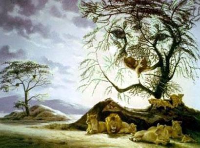 Rostro de león formado por arboles