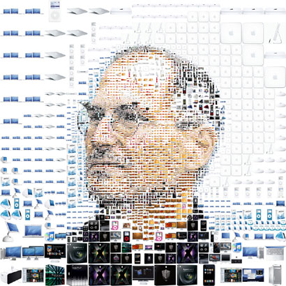 Steve Jobs hecho con figuras de productos Apple
