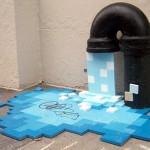 Grifo goteando agua hecha de pixeles