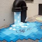 Grifo en la ciudad goteando agua de pixeles