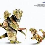 Publicidad creada con billetes, Monos