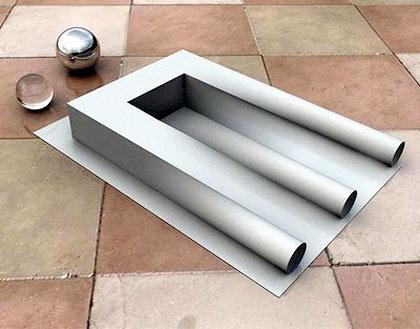 Las tres bases de tubo y una inexistente, ilusiones visuales