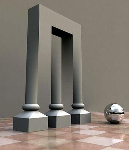 Los 3 pilares y uno que no existe, ilusiones visuales