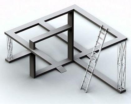 Los maderos y la escalera, ilusiones visuales
