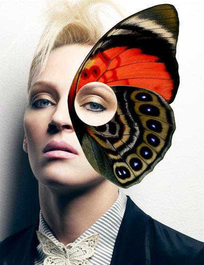 Rostro de Uma Thurman con mariposa en el ojo