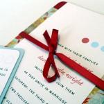 Invitación de Boda con lazo rojo y colores pastel