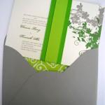 Invitación de Boda con listón verde en medio