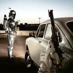 Boba Fett atacando a un clon al lado de un coche