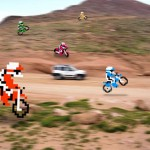 Los motoristas pixeleados de Excitebike en un desierto real