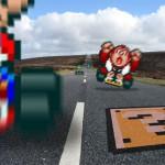 Personajes de Mario Kart compitiendo en una pista de carreras real
