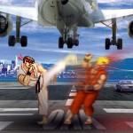 Riu y Ken, peleando Street Fighter en una pista de aterrizaje real