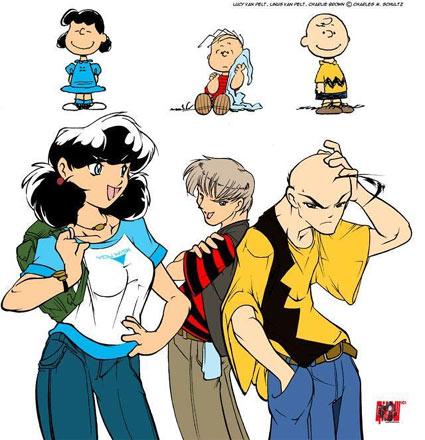 Charlie Brown y sus amigos estilo anime