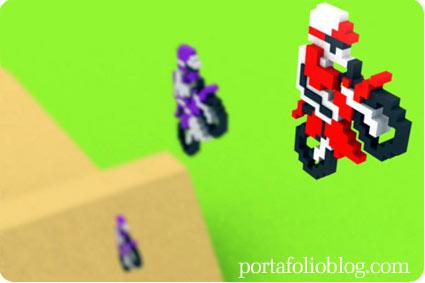 excitebike de nintendo de 8 bits, motocross en 3d