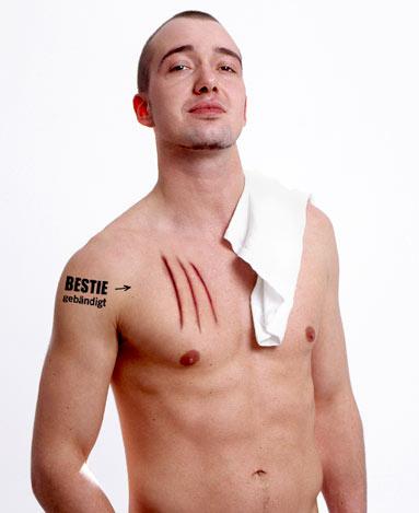 costi tatuaje. Tatuajes de heridas hechas por garras, sólo para machos