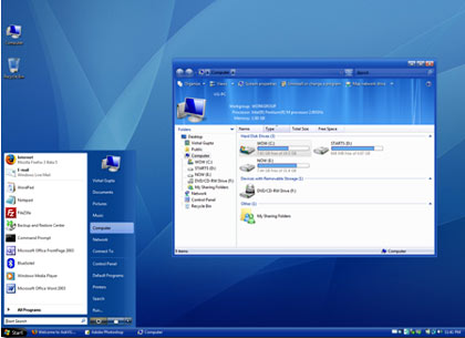 windows vista blue refresh free theme