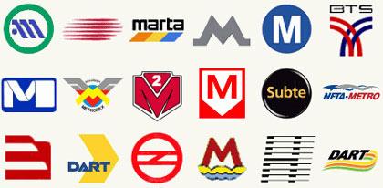 Logotipos del metro en la ciudad