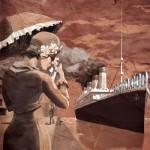 Chica vintage llorando por ver un barco partir