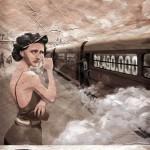 Chica vintage llorando por ver un tren partir