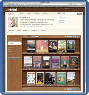 shelfari red social de libros, interfaz creativa