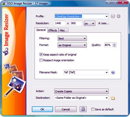 Interfaz de trabajo de VSO Image Resizer