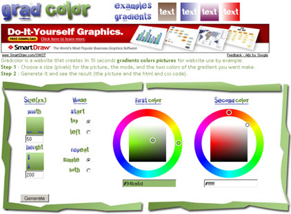 gradcolor interface visual del site generador de degradados online