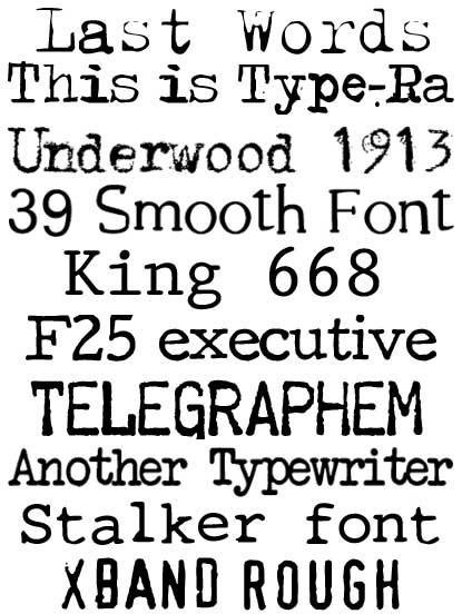 fuentes y fonts con forma de maquina de escribir gratis