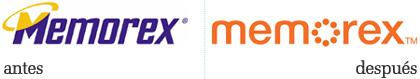 logos de memorex, antes y despues del cambio
