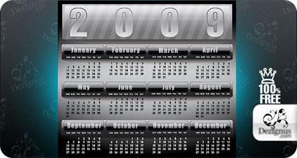 calendarios 2009 en formato vectores gratis