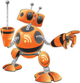 robot rss, iconos para lector de feeds de un blog