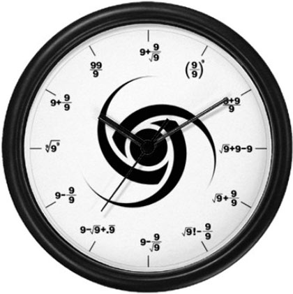 reloj con ecuaciones y formulas matematicas