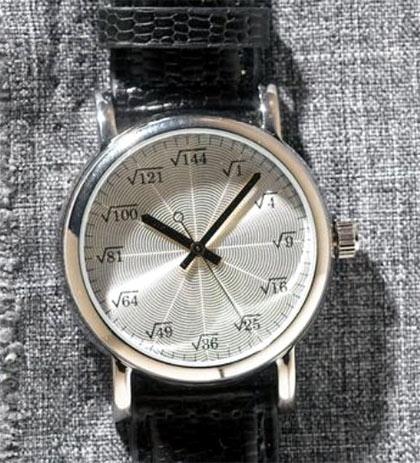 reloj con numeros de raiz cuadrada