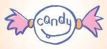 candy, logo con forma de envoltura de caramelo o dulce