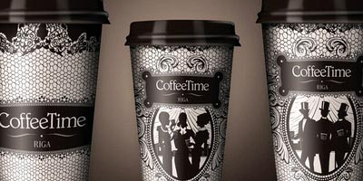 coffe time diseno de empaque para vasos de cafe