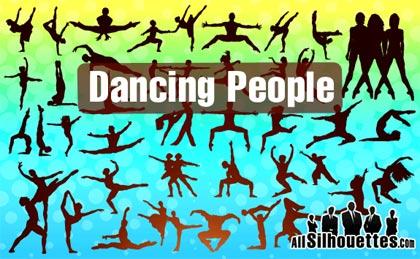 gente bailando en siluetas vectoriales gratis