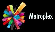 metroplex, logotipo colorido, curvo y extraordinario