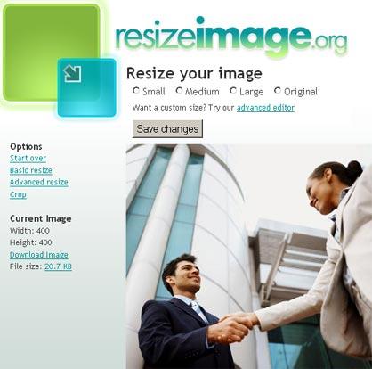 resizeimage, sitio web para editar imagenes en linea gratis