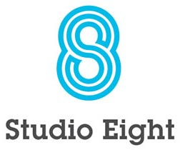 studio eight, logo con dos colores intenso