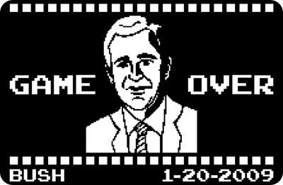 bush 8 bits gameover, el juego termino y la casa blanca se fue