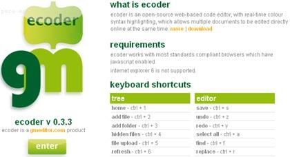 ecoder, editor de codigo online gratis