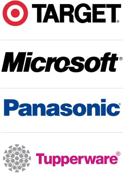 logotipos creados con helvetica, 40 diferentes