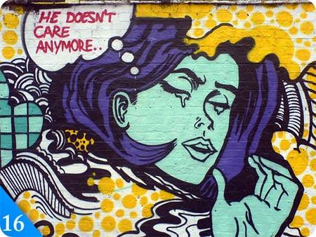 chica llorando en graffiti, dibujada en la pared
