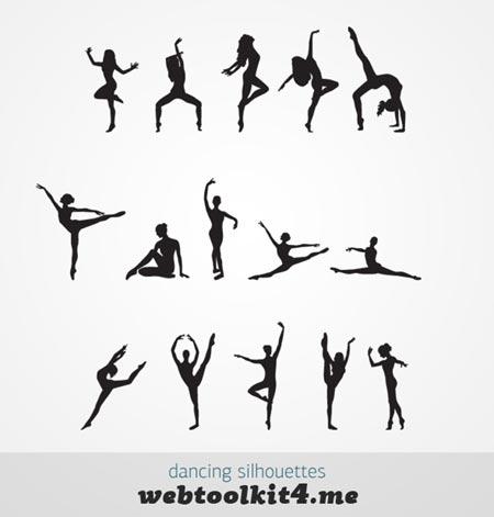 siluestas vectorizadas de mujeres bailando