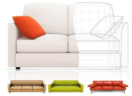 agrega a tu biblioteca estos sofás vectorizados