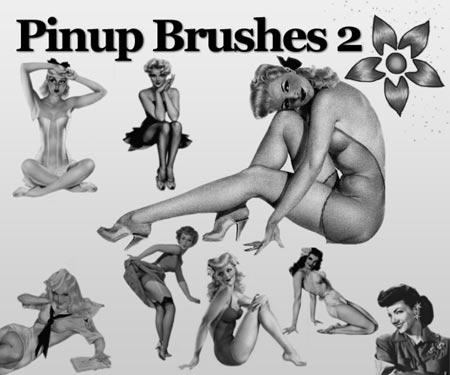 Chicas pinup en brushes para descargar gratis