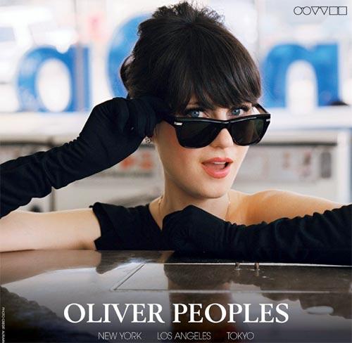 zooe deschanel oliver peoples, publicidad