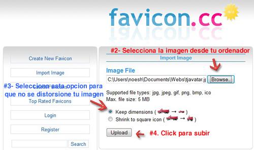 Seleccionar Imagen en Favicon.cc