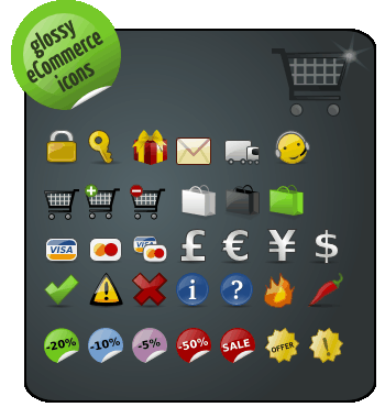 glossy ecommerce icon pack