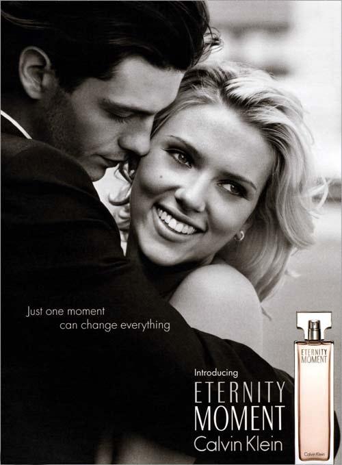 Scarlett Johansson, publicidad de calvin klein, eternity moment