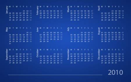 Calendario creado con Photoshop